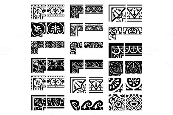 Borders and corners set. Baroque and - Patterns