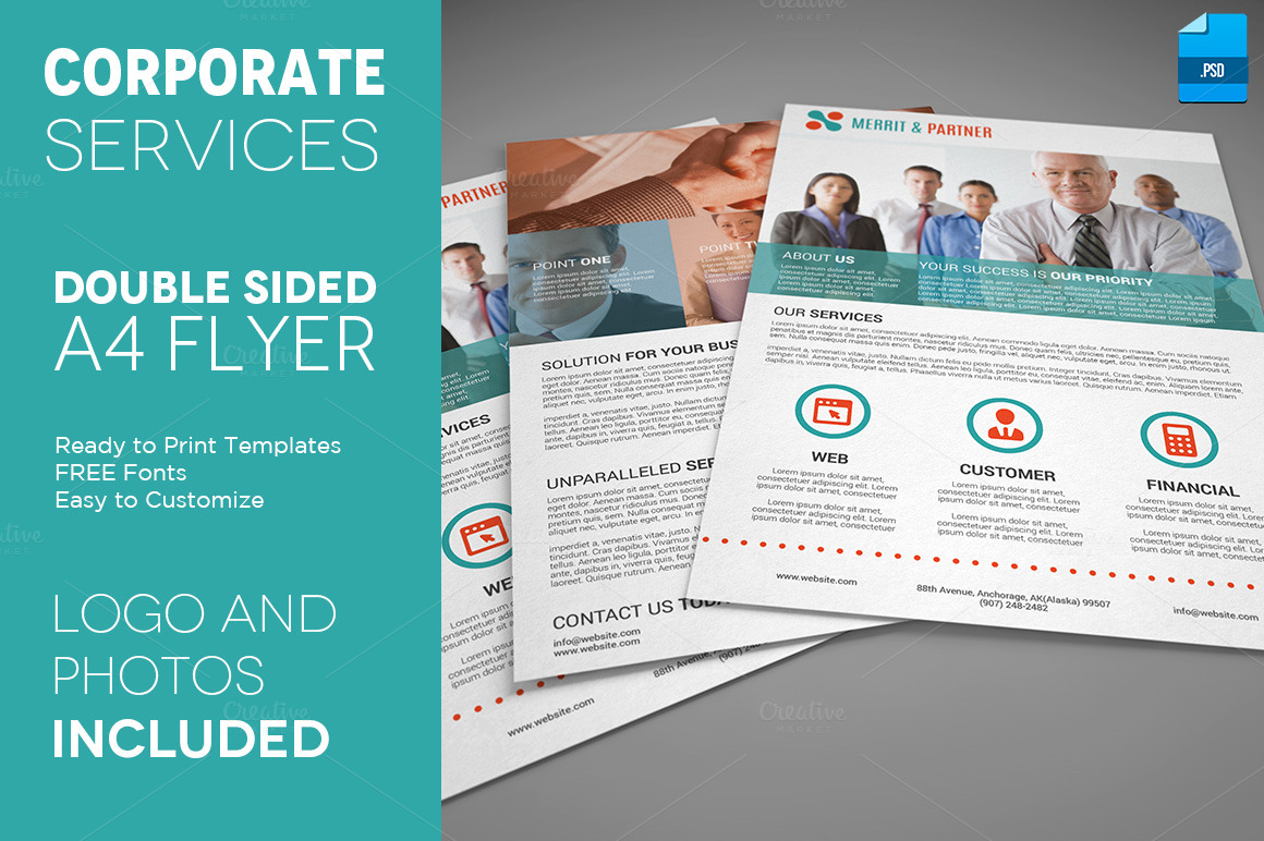 double sided brochure template - a4 double sided corporate flyer flyer templates on