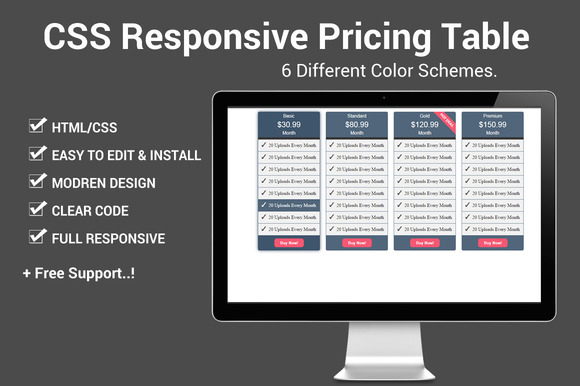 Css responsive pricing table html css themes on creative market - Table design in html with css ...