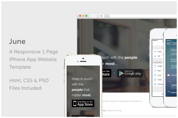 June - iPhone App Website Template - Websites - 1
