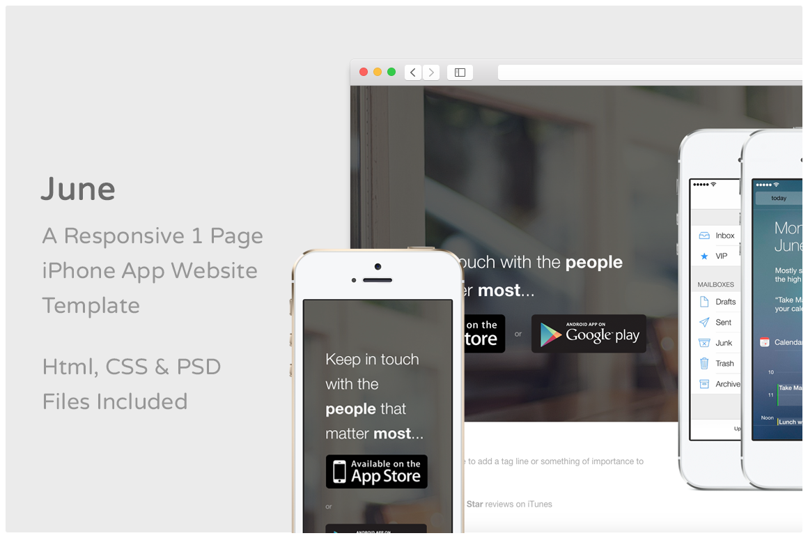 June iphone app website template website templates on for Iphone app logo template