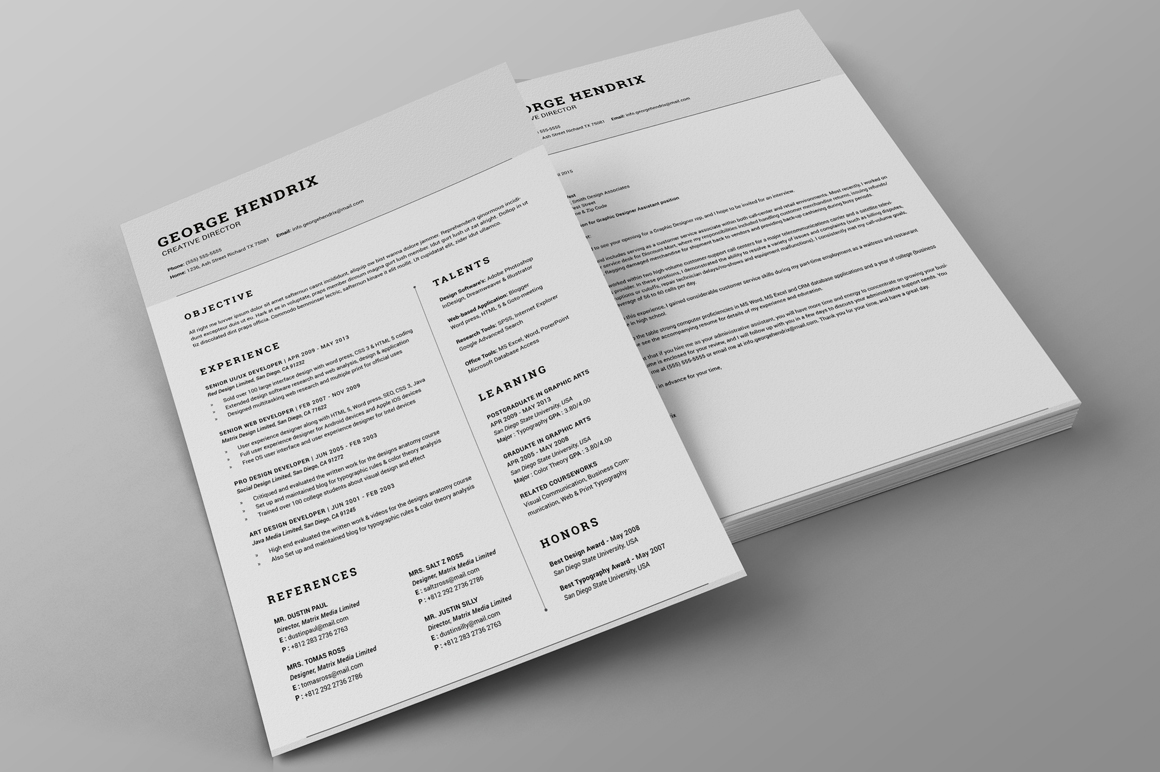 printing resumes front and back all in one single page