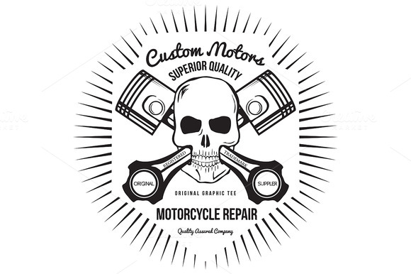 Skull and Pistons. t-shirt graphic - Illustrations