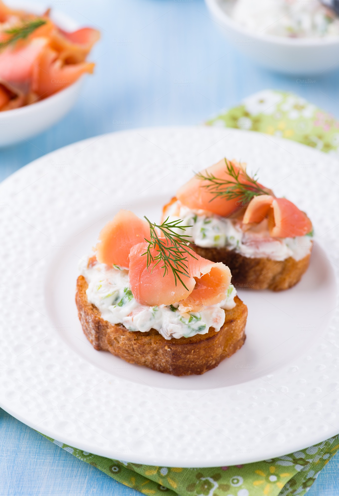 Canape with smoked salmon food drink photos on for Cream cheese canape