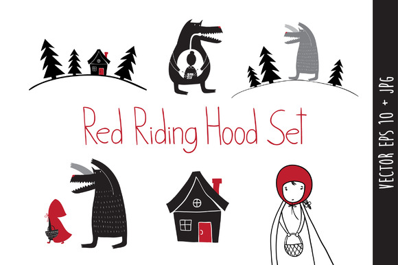 Red Riding Hood set in vector eps.10 - Illustrations