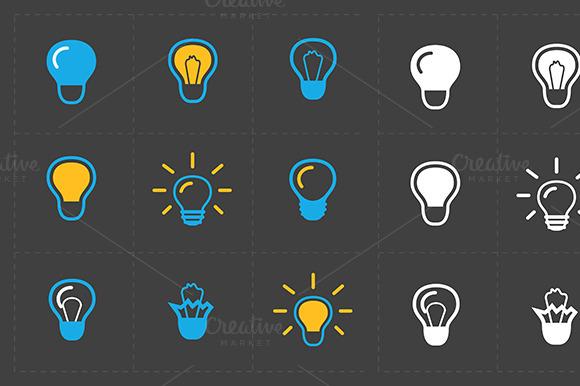 Light bulbs. Bulb icon set. - Icons