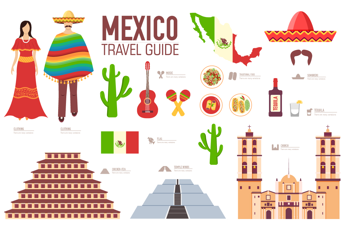 Mexico Country Flat Vector Icons Set Icons On Creative