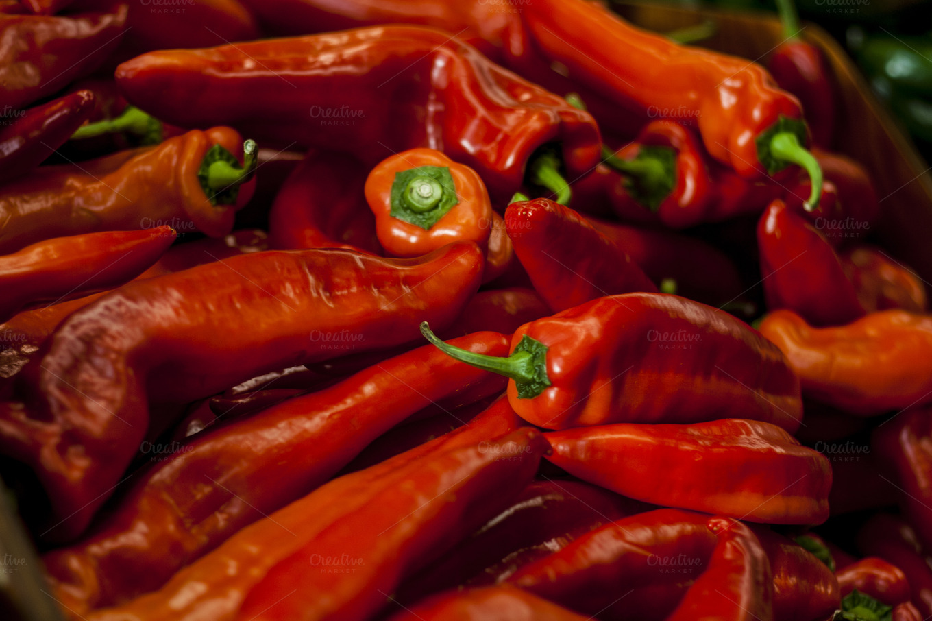Bright red chile peppers ~ Food & Drink Photos on Creative Market