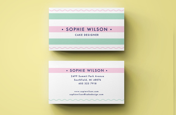 cute pink business card design business card templates on creative market. Black Bedroom Furniture Sets. Home Design Ideas