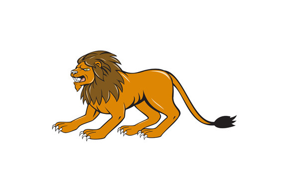 Angry Lion Crouching Side Cartoon