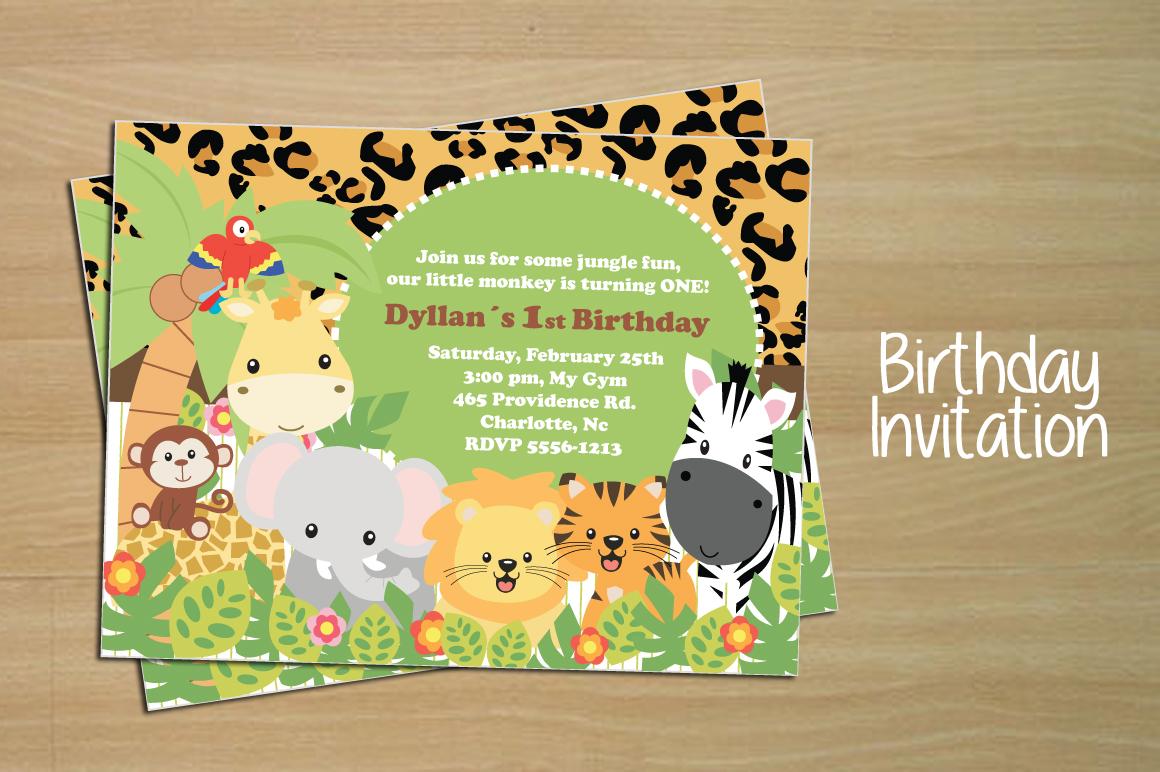 birthday invitation card  jungle  invitation templates