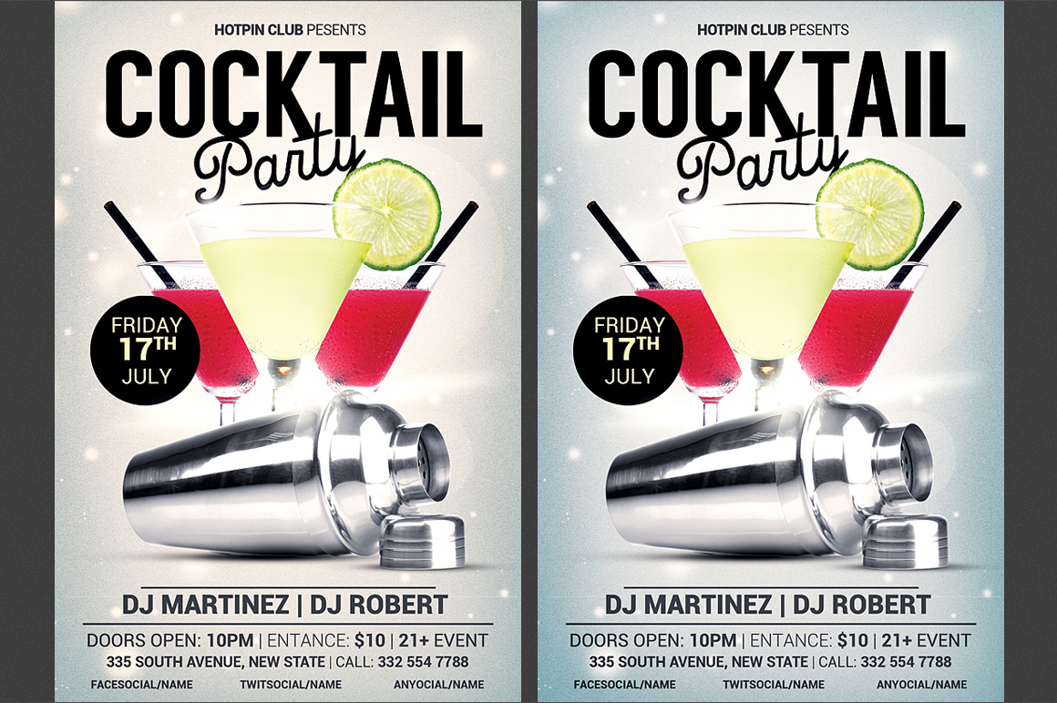 Cocktail party flyer template flyer templates on for Cocktail party invite template