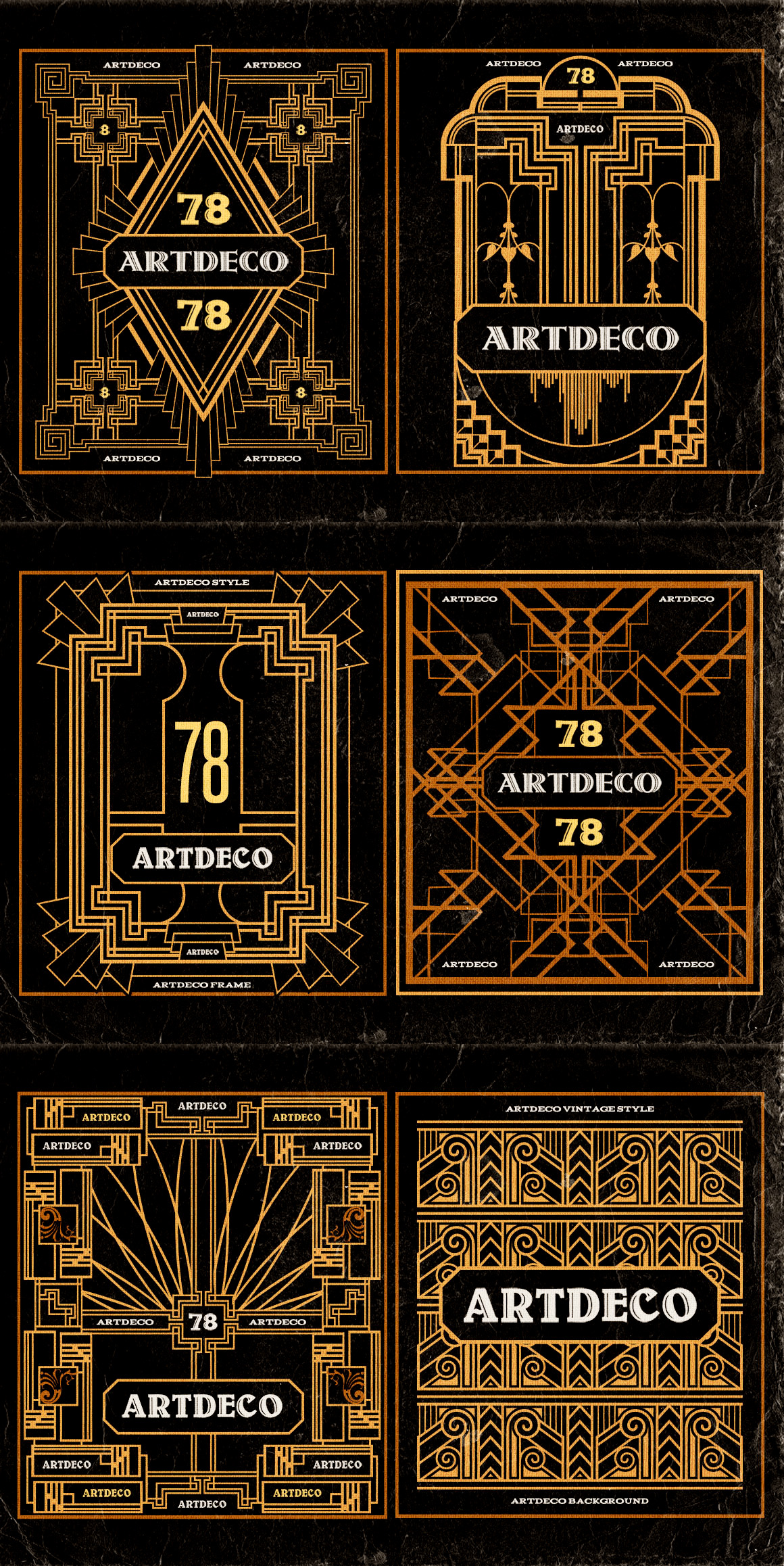 11 artdeco badges frames objects on creative market for Deco 5 elements