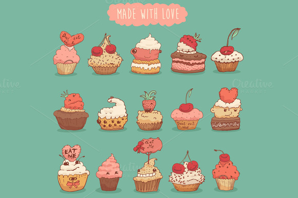 Set Of Sweet Cupcakes