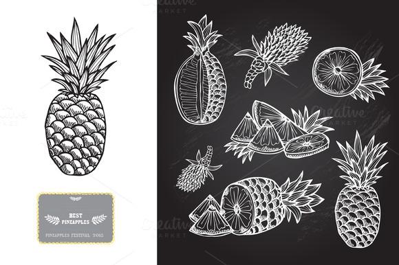 Hand Drawn Pineapples