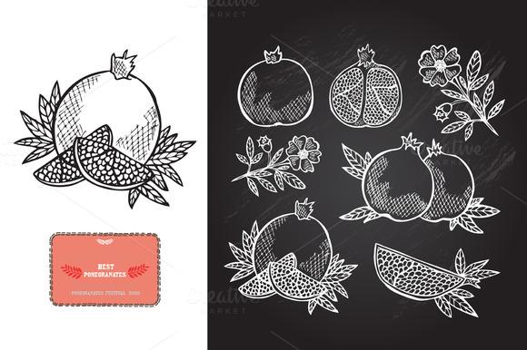 Hand Drawn Pomegranates