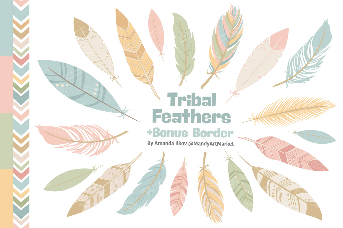 Soft Pastel Feathers Clipart ~ Illustrations on Creative ...