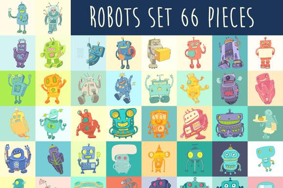 Set Of Cute Cartoon Robots