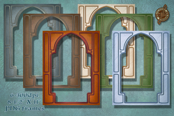 Ornate PNG Frames In Six Colors