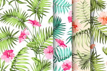 Tropical flowers pattern set.