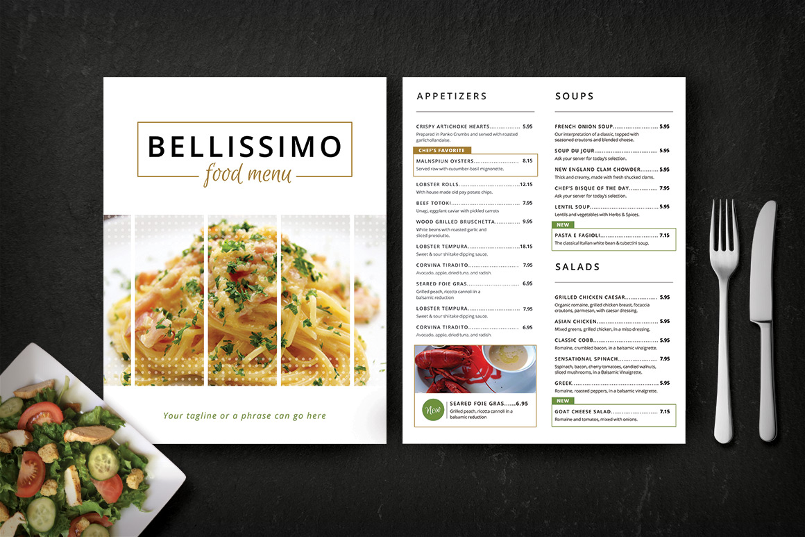Modern restaurant menu bellissimo brochure templates for Resturant menu templates