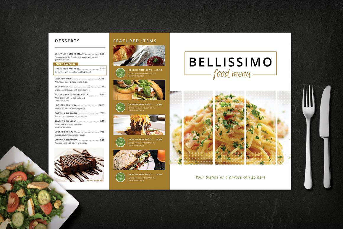 modern restaurant menu  bellissimo