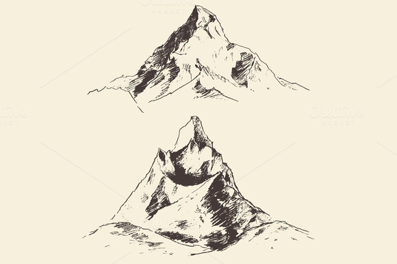 Set Of Mountains Illustrations