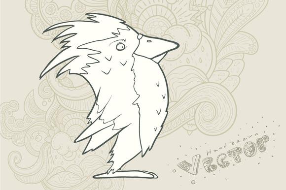 Hand Drawn Vector Retro Cartoon Bird