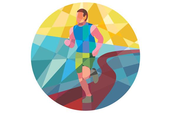 Marathon Runner Running Circle Low P
