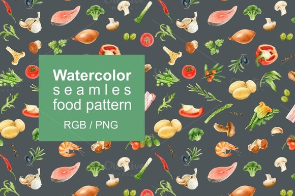 Watercolor Seamles Food Pattern