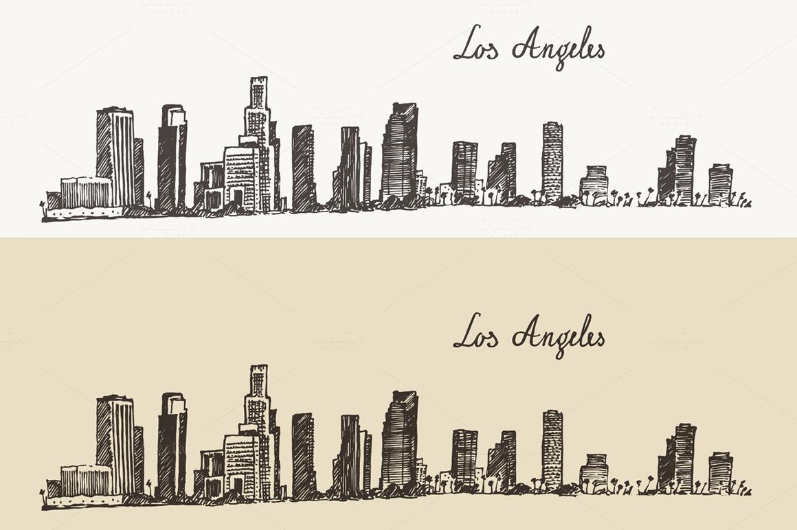 Los Angeles California Skyline Illustrations On
