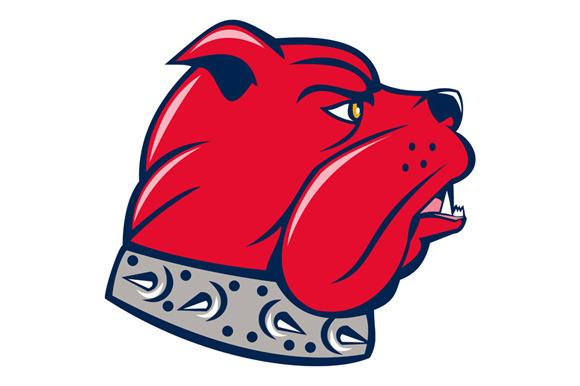 Red Bulldog Head Isolated Cartoon