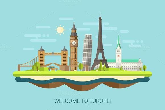 Famous European Landmarks Postcard