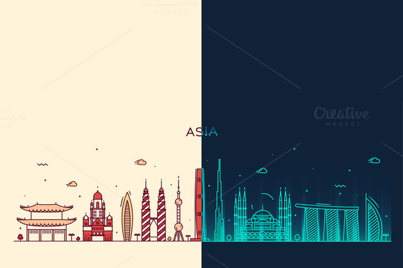 Day And Night Asian Skylines