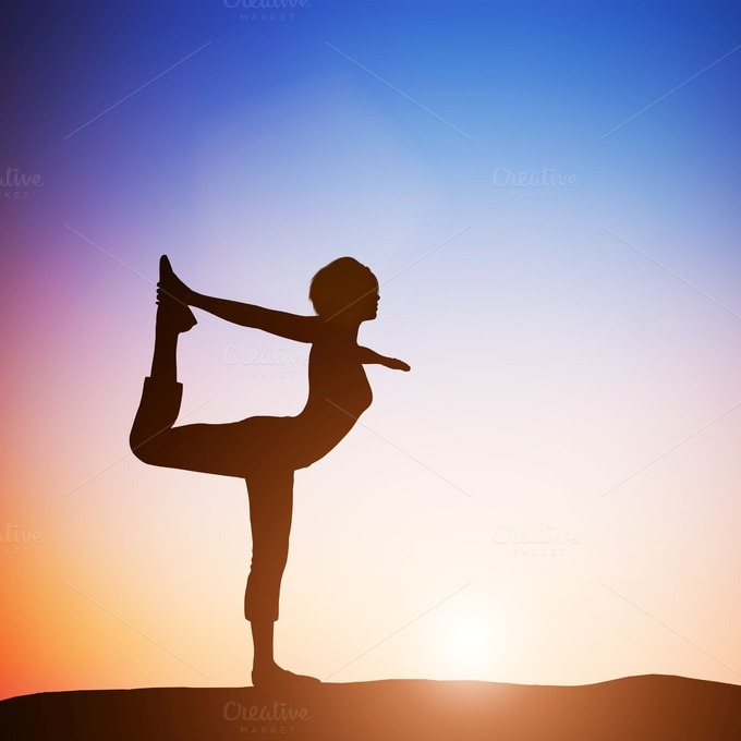 Woman In Dancer Yoga Position