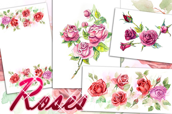 Red roses. Pattern from roses. - Illustrations