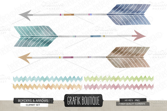 Watercolor Arrows Chevron Painted
