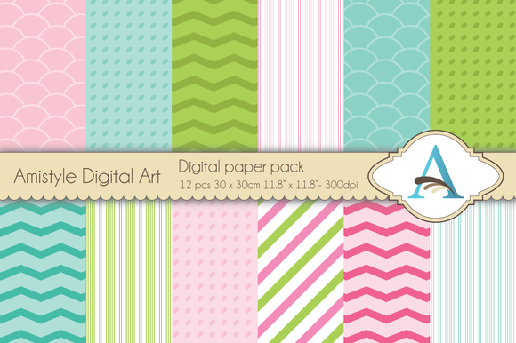 Pink-Green-Blue Digital Papers