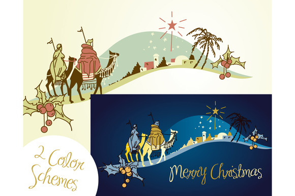 Nativity scene, Wise Men, star ~ Illustrations on Creative Market