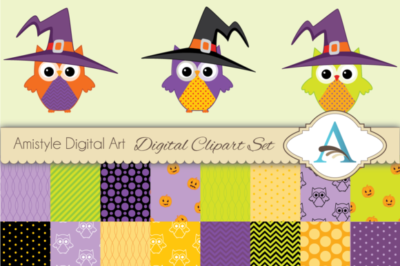 Halloween Owl Clipart And Paper Set