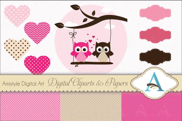 Valentines Owl Clipart Set