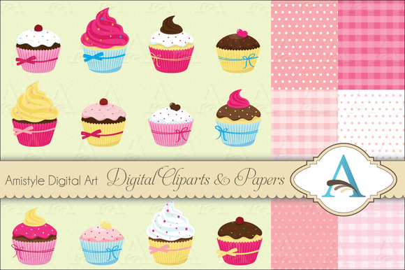 Cupcake Clipart no Background Cupcake Clipart Set