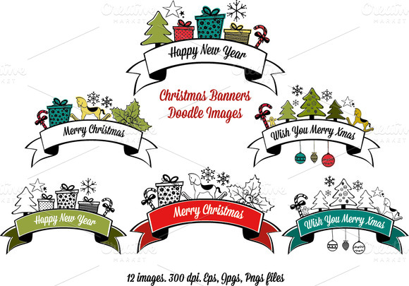 Christmas Banners Doodle Images