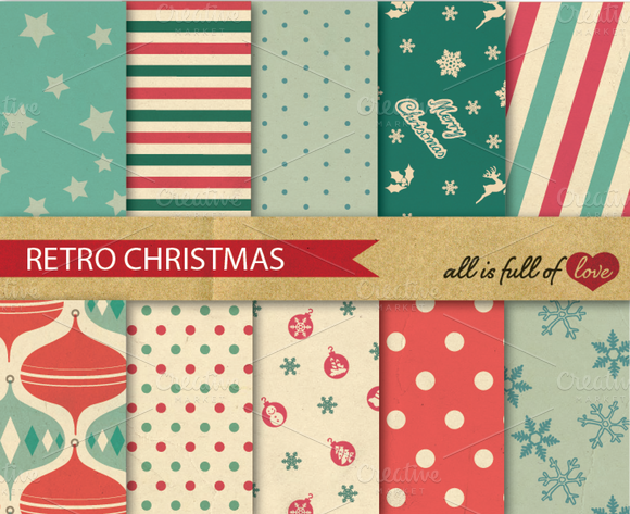 Christmas Retro Pattern Background