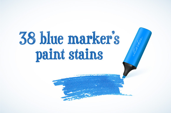 38 Blue Marker S Paint Stains