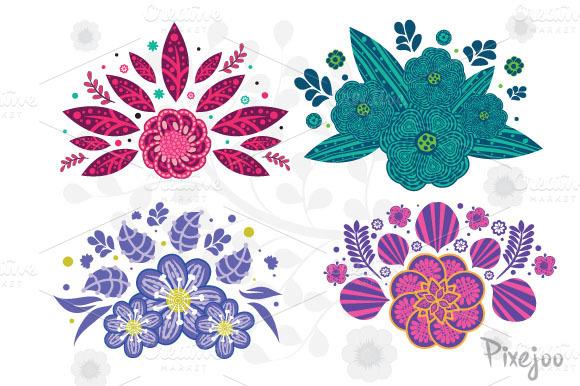 4 Set Of Flowers Bouquet Design