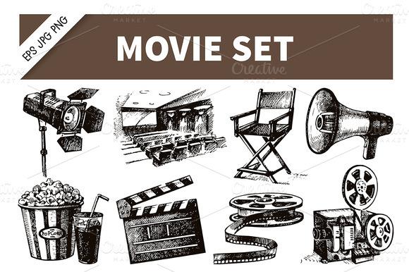 Hand Drawn Vintage Movie Film Set