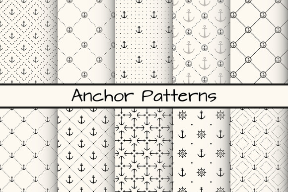 10 Anchor Monochrome Patterns