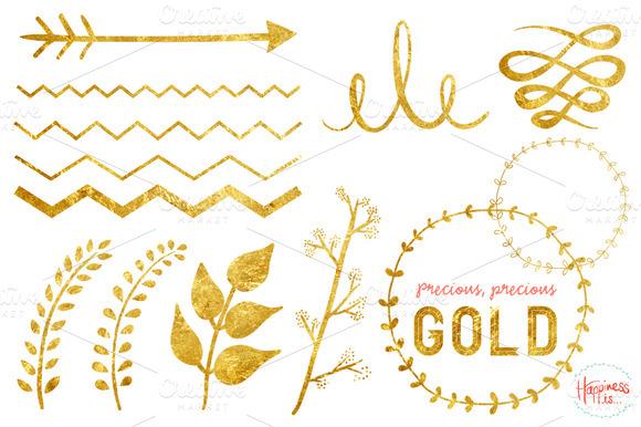 19 Gold Textured Elements