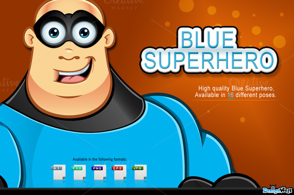 Blue Superhero Character